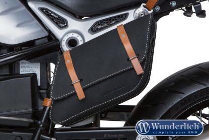 Leather side pocket right – black