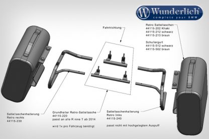 Wunderlich Pipe mounting for Mammut side bags – black